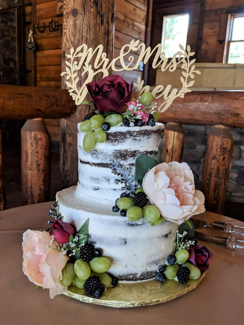 Semi Naked Wedding Cake With Grapes