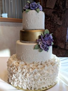 Ruffles and Gold Tier Wedding Cake